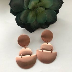 Rose gold color statement earrings